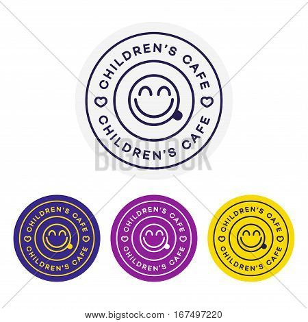 Childrens cafe logo for corporate identity design. Restaurant cafe set card, flier, menu, package, uniform design set. Stock vector
