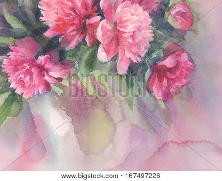 Bouquet of pink peonies watercolor illiustration. Wedding card. Summer bloom. Color flowers background.