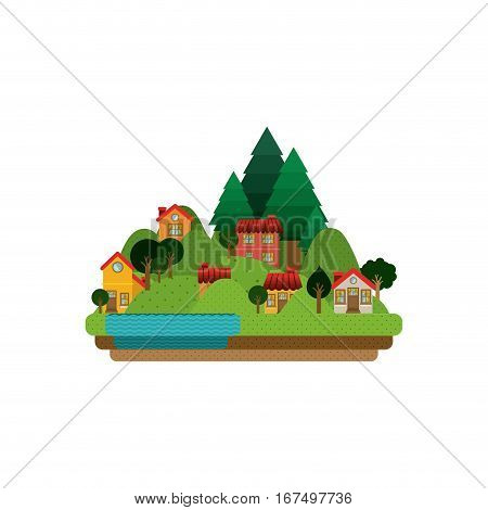 city life background in the forest vector illustration