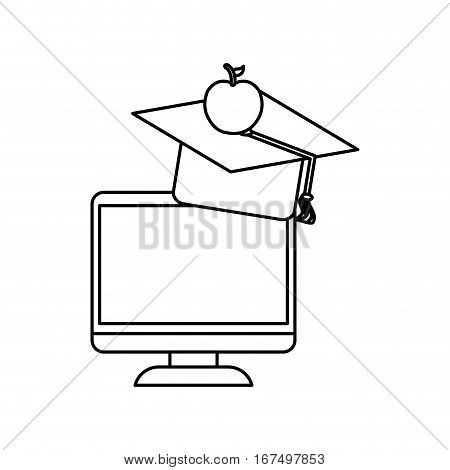 Online education elearning icon vector illustration graphic design