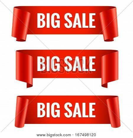 Sale banner set. Realistic Red Glossy paper ribbon. Vector illustration