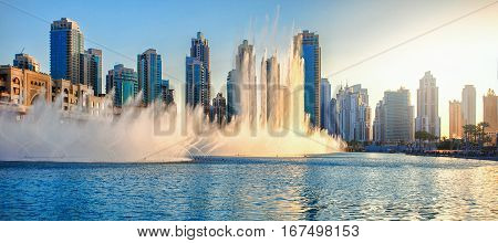 Dancing Fountains of Dubai Mall. Dubai, UAE.