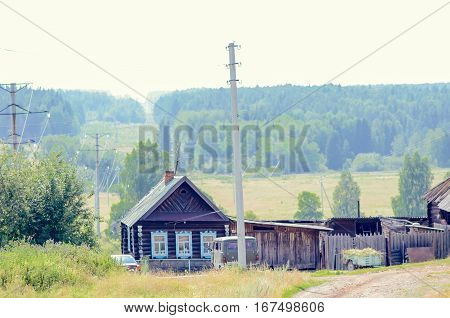 Old wooden house in Russian village village house in Russia