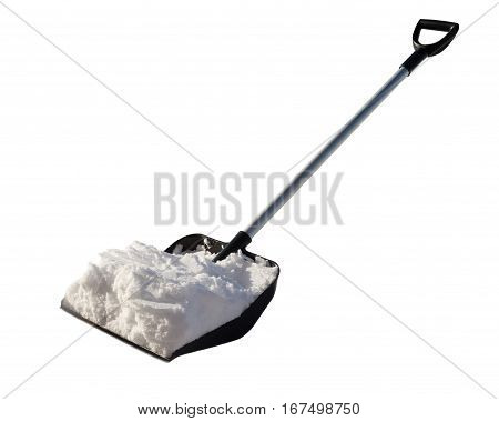 Shovel for cleaning of snow with the snow. Snow shovel removes fresh white snow