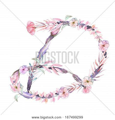 Capital letter D of watercolor pink and purple flowers, isolated hand drawn on a white background, wedding design, english alphabet for the festive and wedding decor and cards