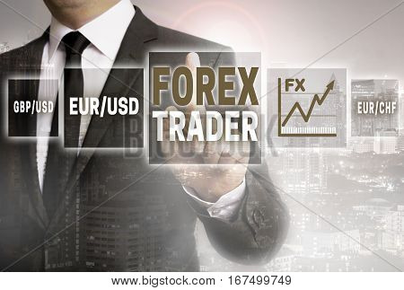 Forex trader with city background concept concept