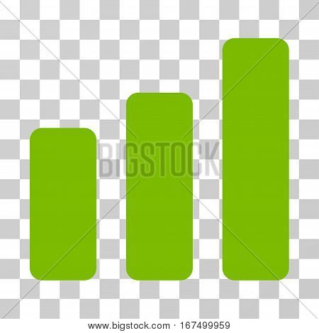 Bar Chart Increase vector pictogram. Illustration style is flat iconic eco green symbol on a transparent background.