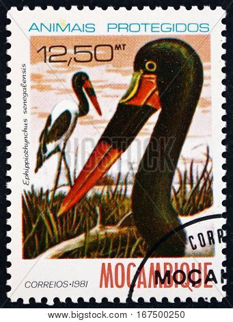MOZAMBIQUE - CIRCA 1981: a stamp printed in Mozambique shows Saddlebill Stork Ephippiorhynchus Senegalensis is a Large Wading Bird circa 1981