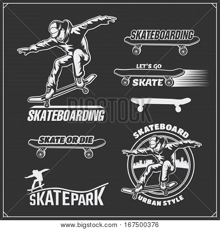 Collection of skateboarding labels, emblems, badges and design elements. Silhouette of a skateboarder.