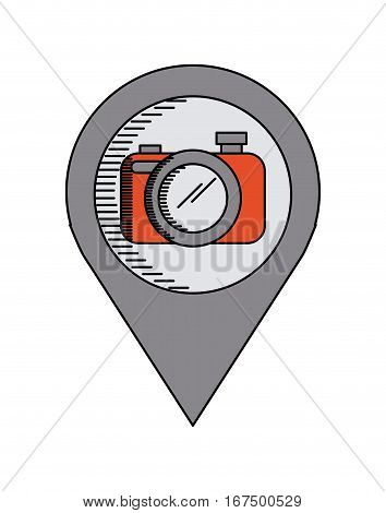 location pin with camera device icon over white background. colorful design. vector illustration