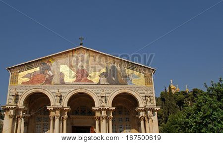 The Church of All Nations or Basilica of the Agony is a Roman Catholic church near the Garden of Gethsemane at the Mount of Olives in Jerusalem, Israel. Blue sky background