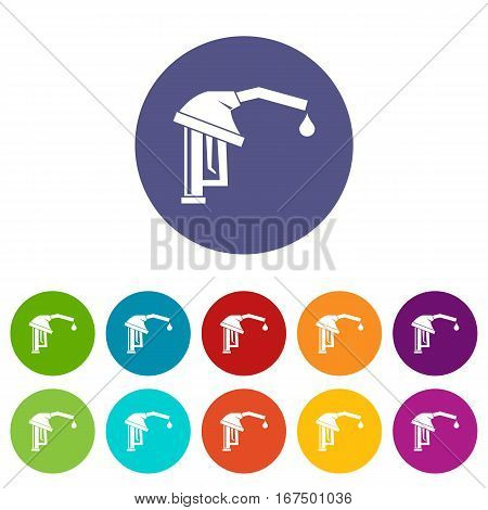 Gasoline pump nozzle set icons in different colors isolated on white background