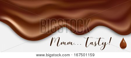 Melted chocolate wide vector background. Melted realistic texture with drop.