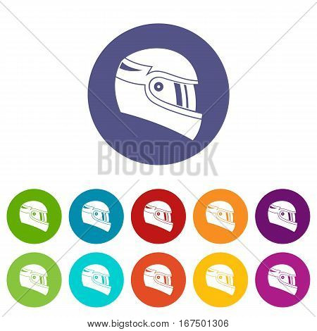 Racing helmet set icons in different colors isolated on white background