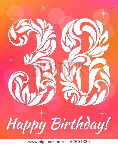 Bright Greeting Card Template. Celebrating 38 Years Birthday. De