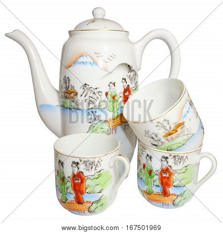 Vintage coffee pot and three cups. Beautiful porcelain.
