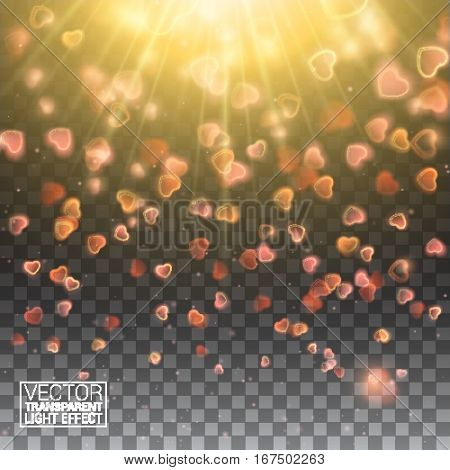 Valentines Day with Bokeh Falling Hearts and Confetti. De focused and glittering separated elements. Vector Illustration Effect Isolated on transparent background