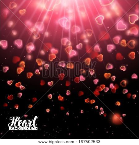 Valentines Day with Bokeh Falling Effect Hearts and Confetti. De focused and glittering separated elements. Vector Illustration on black background