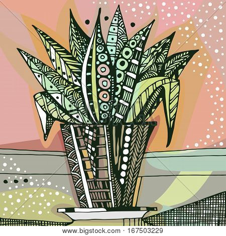Hand drawn doodle houseplant in flowerpot. Vector illustration.