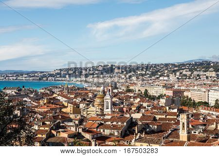 Aerial View Of Nice Old Town From Colline Du Chateau.