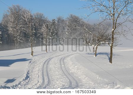 Cross Country Ski Tracks In Austria, Winter Mountains.