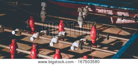 Ancient Old Wood Classic Aged Foosball Table Or Table Soccer With Vintage Effect Photo Style. Mini F