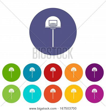 Street basketball hoop set icons in different colors isolated on white background