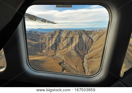Mountain landscape around lake Tekapo area viewed from plane