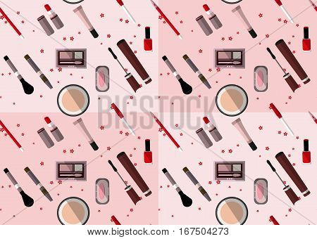 Seamless pattern of the makeup items in pink and brown colors. Vector illustration