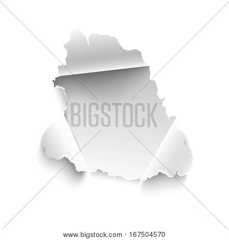 Hole in white paper. Vector illustration. Banner with space for text for sale promo and advertising. Realistic torn paper vector isolated on white background. Curled sides with ripped edges.