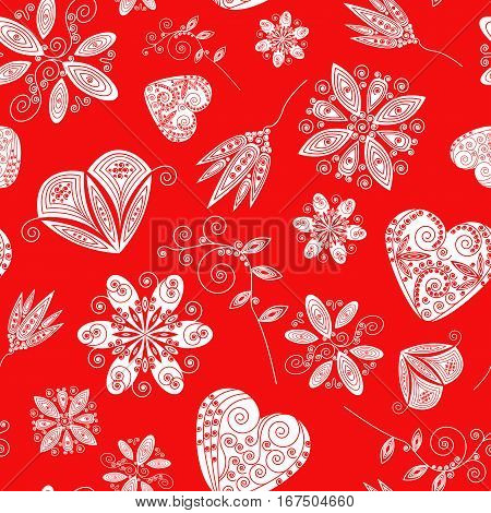Decorative seamless pattern with lot of valentines hearts and flowers. Vector illustration.
