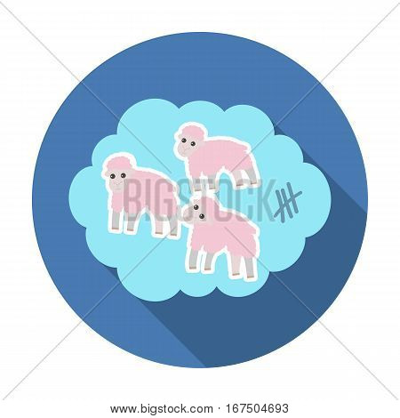 Count sheep icon in flat design isolated on white background. Sleep and rest symbol stock vector illustration.