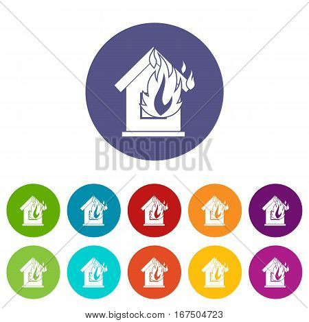 Preventing fire set icons in different colors isolated on white background