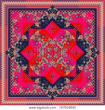 Lovely tablecloth in oriental style with ornamental border. Bright indian scarf with unusual floral pattern. Shawl.