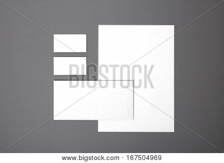 Blank stationery set Blank stationery still life with business cards, paper, envelope. Template for branding identity. For graphic designers presentations and portfolios