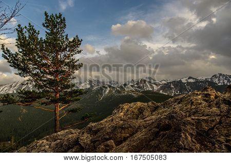 Panorama mountain spring landscape. Tatry . Poland.