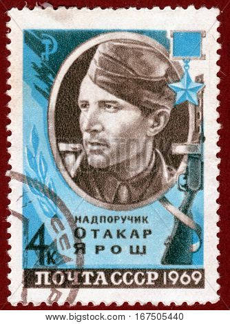 USSR - CIRCA 1969: Postage stamp  printed in USSR shows portrait of Otakar Yarosh, nadporuchik, Hero of the Soviet Union. circa 1969
