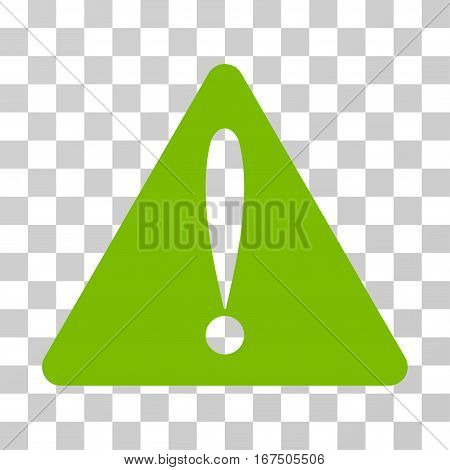 Warning Error vector icon. Illustration style is flat iconic eco green symbol on a transparent background.