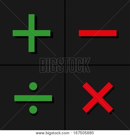Basic Mathematical symbols on black background. Vector illustration