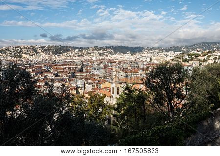 Aerial View Of Nice Old Town From Colline Du Chateau