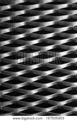 Large aluminum expanded metal mesh close up