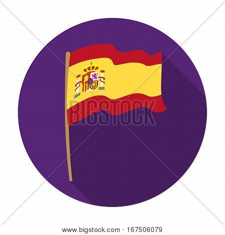 Flag of Spain icon in flat design isolated on white background. Spain country symbol stock vector illustration.