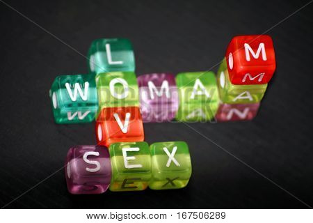 many-colored words Woman, Man, Love, Sex of plastic cubics