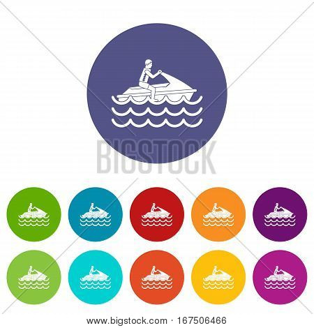 Man on jet ski rides set icons in different colors isolated on white background