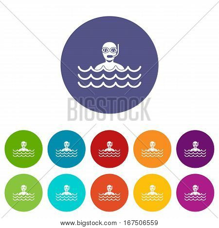Man with scuba set icons in different colors isolated on white background
