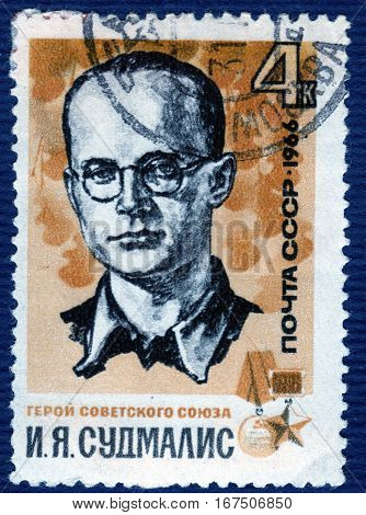 USSR - CIRCA 1966: Postage stamp  printed in USSR shows portrait of I. Y. Sudmalis, Hero of the Soviet Union. circa 1966
