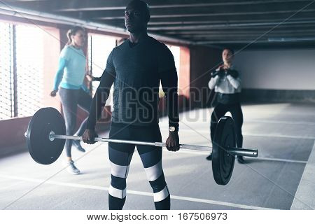 Muscular African American Man Doing Crossfit