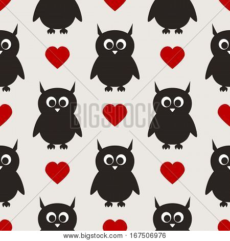 Repeated silhouettes of owls with ears and hearts. Big eyes beak. Seamless pattern. Funny ornament for children's things. Black gray red white.