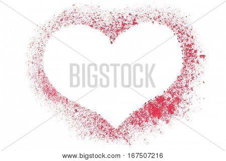 Red stenciled heart - blank frame - raster illustration
