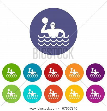 Water polo set icons in different colors isolated on white background